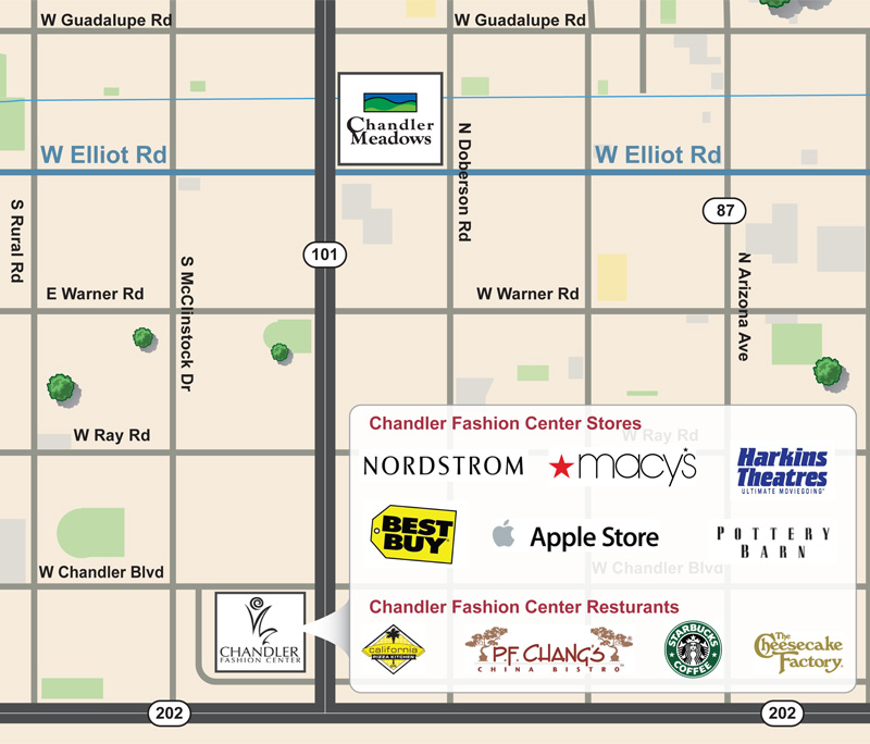 Apartments In Chandler Arizona Chandler Meadows Apartment Homes - Chandler fashion center mall map